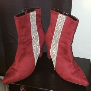 Burgundy Ankle Boots with Bling Strip